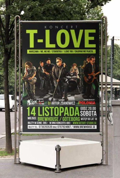 Projekt plakatu koncert T-Love