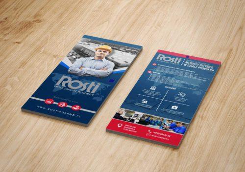 Projekt ulotki DL dla firmy Rosti