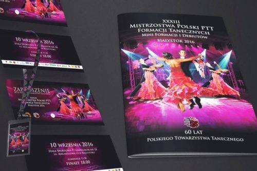 Projekt graficzny ulotki, identyfikatora, banera oraz broszury dla Mistrzostwa Polski PTT Formacji Tanecznej